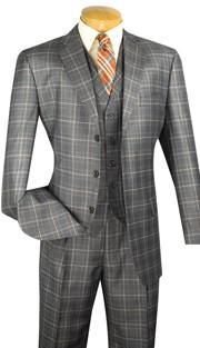 3pc Single Breasted, Three Buttons, Vest, Side Vents, Pleated Pants, Vinci Mens Suit