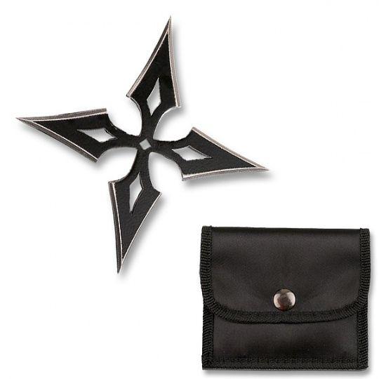 Diamond Quad Point Ninja Throwing Star w/ Sheath - Black
