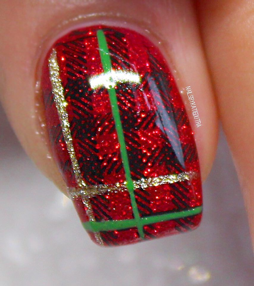 Winter plaid nails red nails nails pinterest plaid nails red