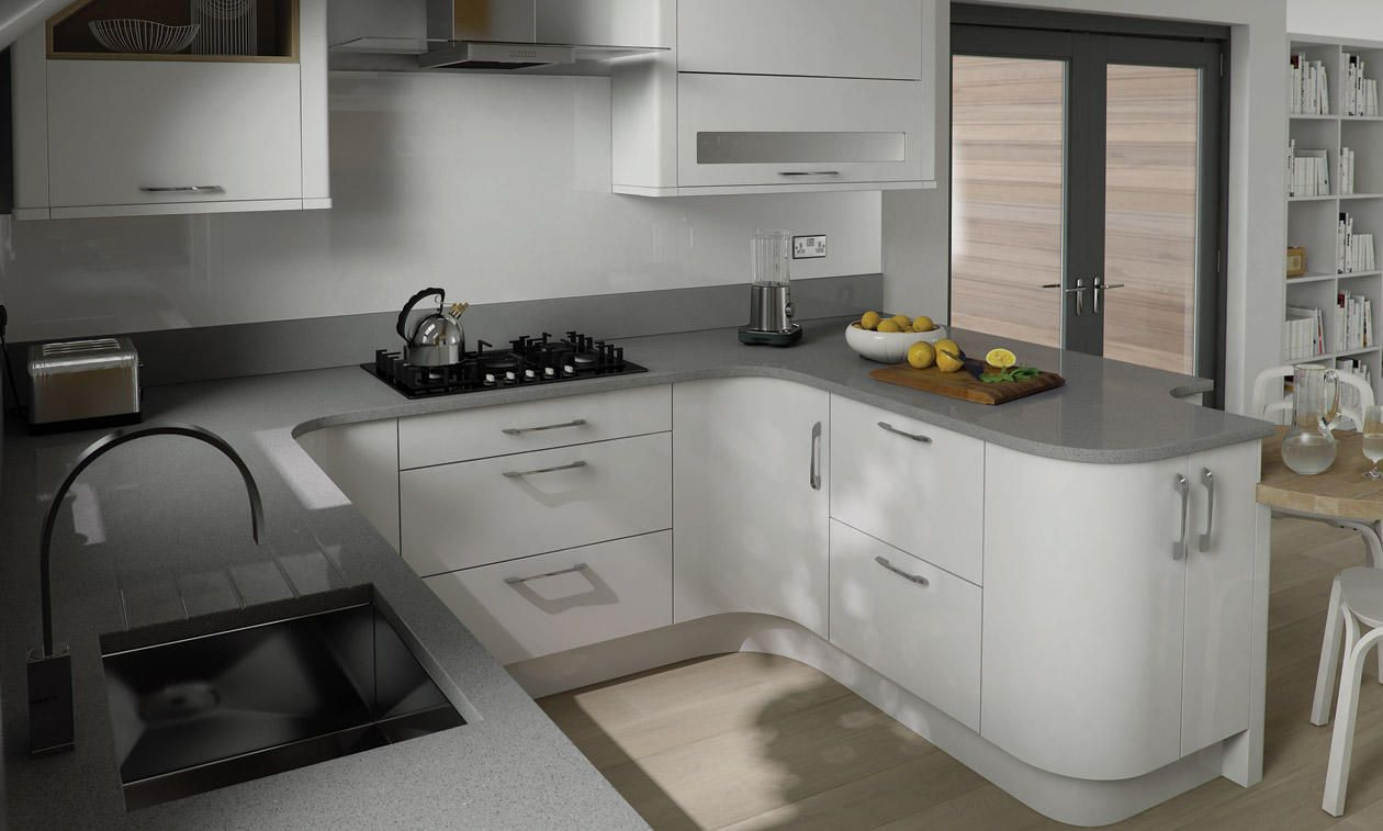 White gloss cupboards grey granite worktop google search for Fitted kitchen cabinets