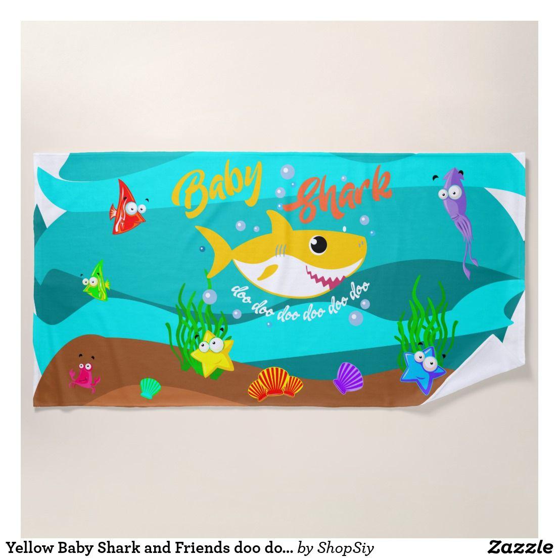 Yellow Baby Shark and Friends doo doo doo Beach Towel   Zazzle.ca