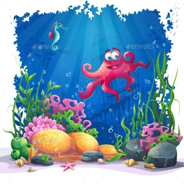 Underwater Octopus, Coral And Colorful Reefs By Nearbirds Beautiful Octopus,  Coral And Colorful Reefs