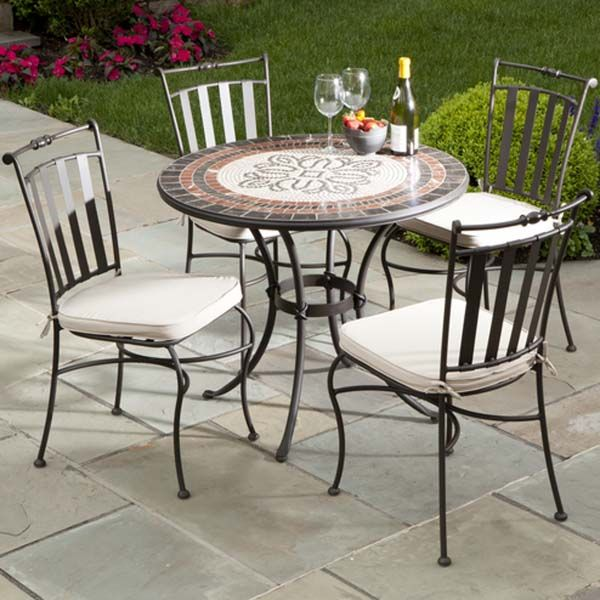 Patio Chairs | Wrought Iron Patio Chairs Marble Mosaic | New ideas ...