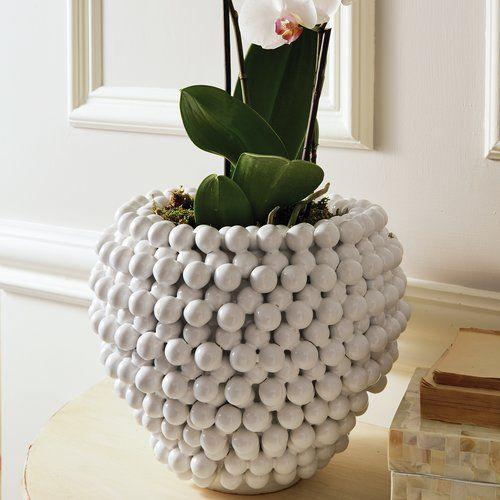 Sokolowski Pompom Decorative Ceramic Pot Planter Planter Pots Ceramic Pot Ceramic Decor