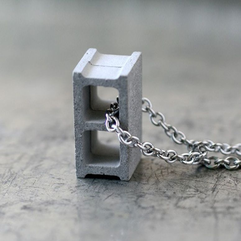 Cement Cinder Block Necklace - So That's Cool