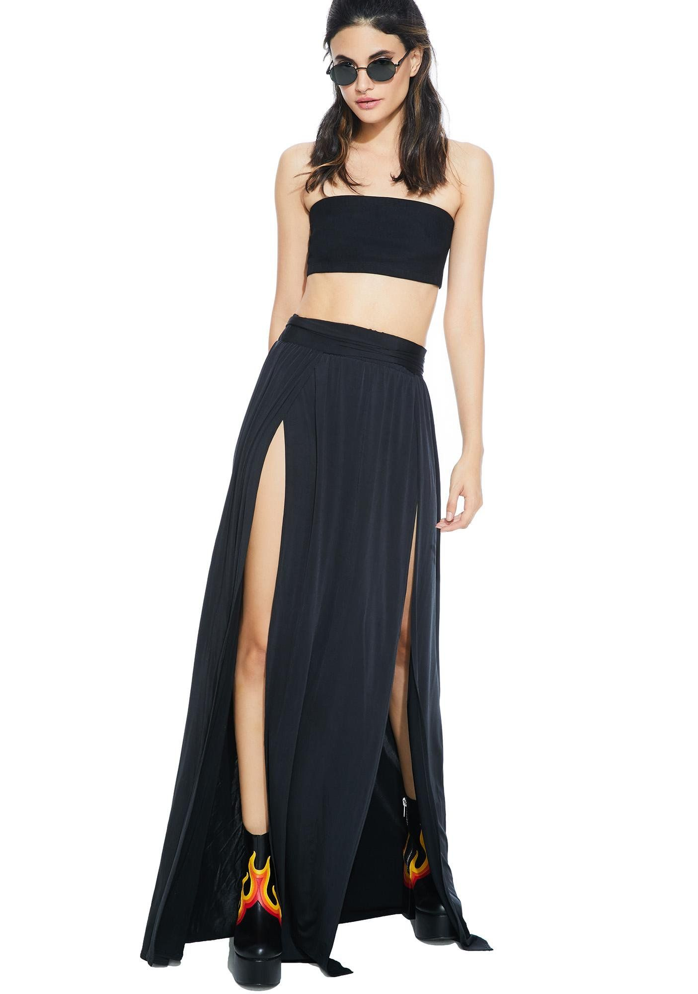 f713bbc5f9 Hera Double Slit Maxi Skirt cuz yer godlike, of course! Features a soft 'N  semi-sheer black construction, high waist, and double front thigh slits.