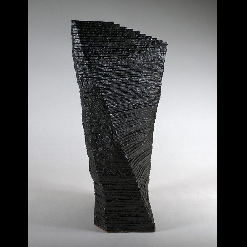 Gaku Shakunaga - Sekiso Shikkoku (Black Pyramid), 2012 - Stoneware sculpture with black glaze and lacquer - H. 19 ¾ x 10 x D. 7 7/8 in.