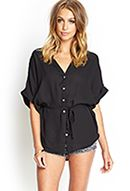 button front belted tunic