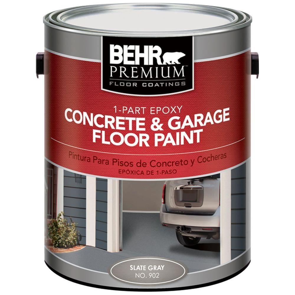Behr Premium 1 Gal 902 Slate Gray 1 Part Epoxy Concrete And Garage Floor Paint 90201 The Home Depot Garage Floor Paint Painted Concrete Floors Garage Floor