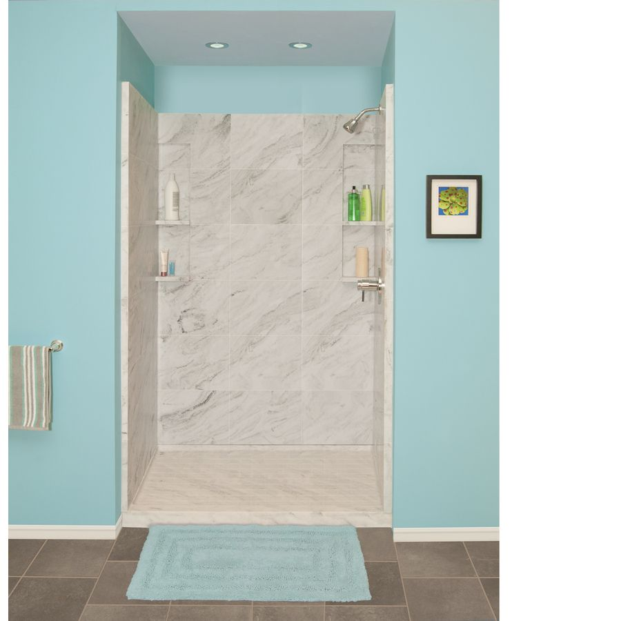 Style Selections White Carrara Solid Surface Wall Floor 4 Piece Alcove Shower