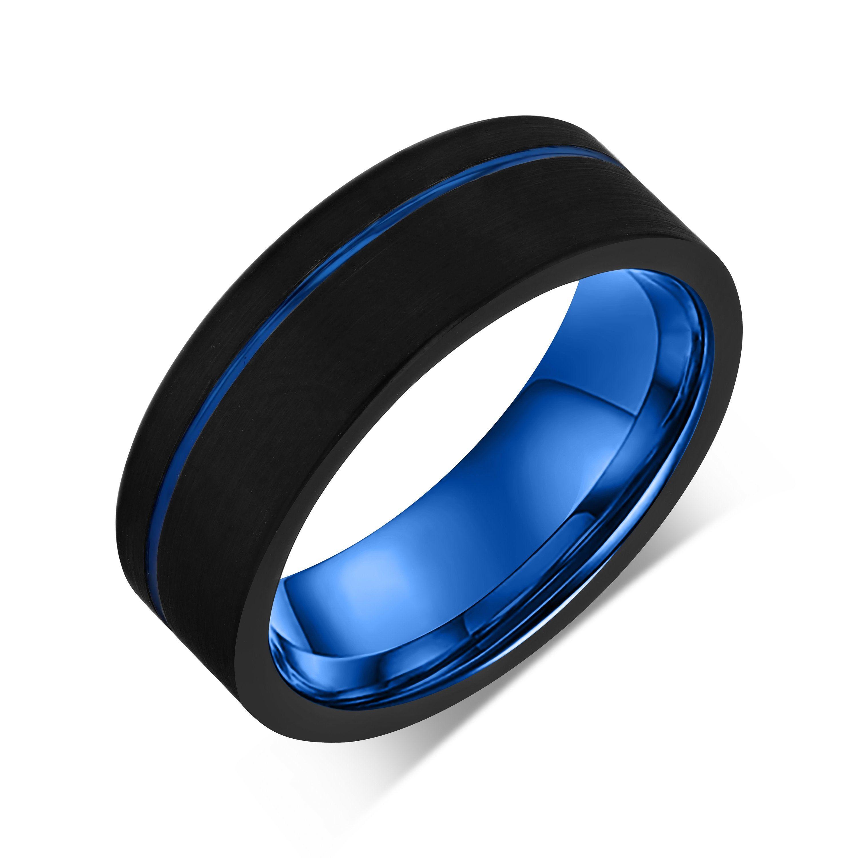 Black Tungsten Wedding Band Blue Tungsten Wedding Band