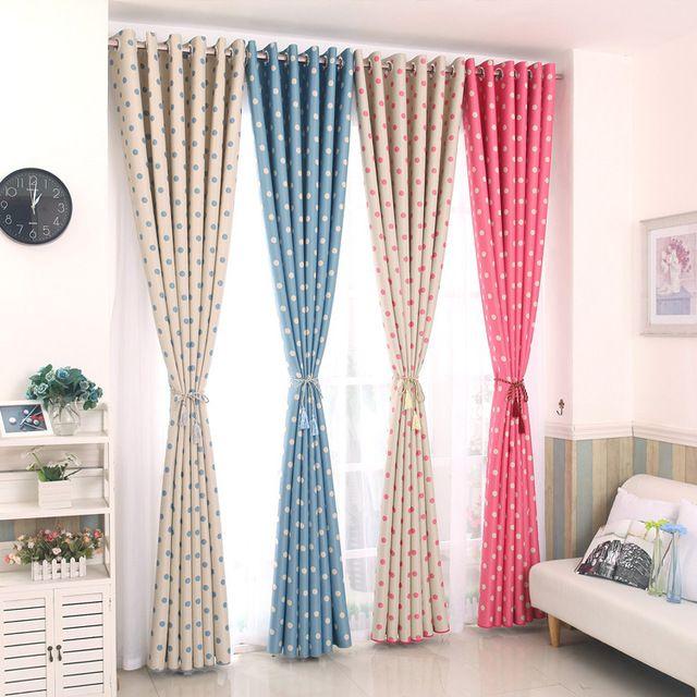 Nuevo lleno de sombra cortinas de tela azul y pink dots cortinas ...