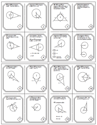 Circles Tangents In Circles Task Cards 20 Cards From Mariedompierre On Teachersnotebook Com 9 Pages Geometry Lessons Teaching Geometry Math Geometry
