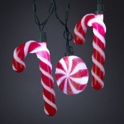 Set Of 10 Peppermint Twist White Led Candy Cane Christmas Lights