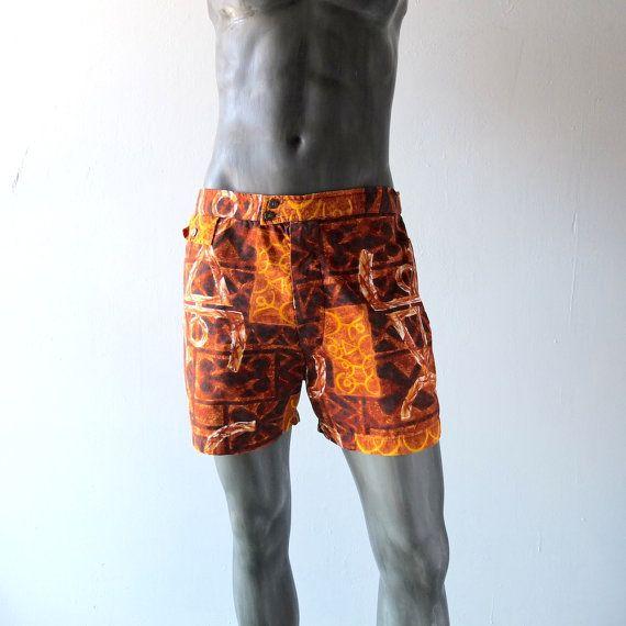 ec2402d609 60s Tiki Hawaiian men's mod 2pc cabana set - shorts / shirt - size L ...