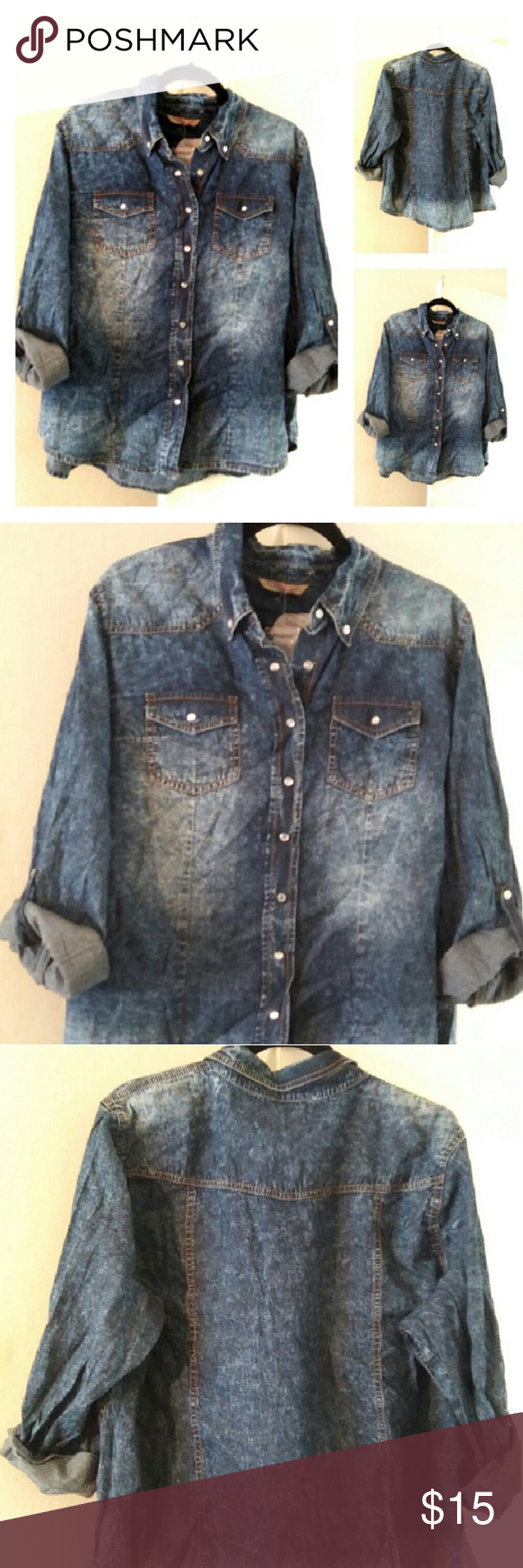 Distressed Wash Jean Shirt Distresses Blue wash...snaps up...comes with extra snaps...front pockets...never worn...New... Price tag fell off...distressed garment tag and extra buttons pkg still attached  Size 2X 100% Cotton  Length 25 inch measured hanging  Armpit seam  to Armpit seam...26 inch  LISTED PRICE IS LOWEST PRICE  No price drops No offers Tops