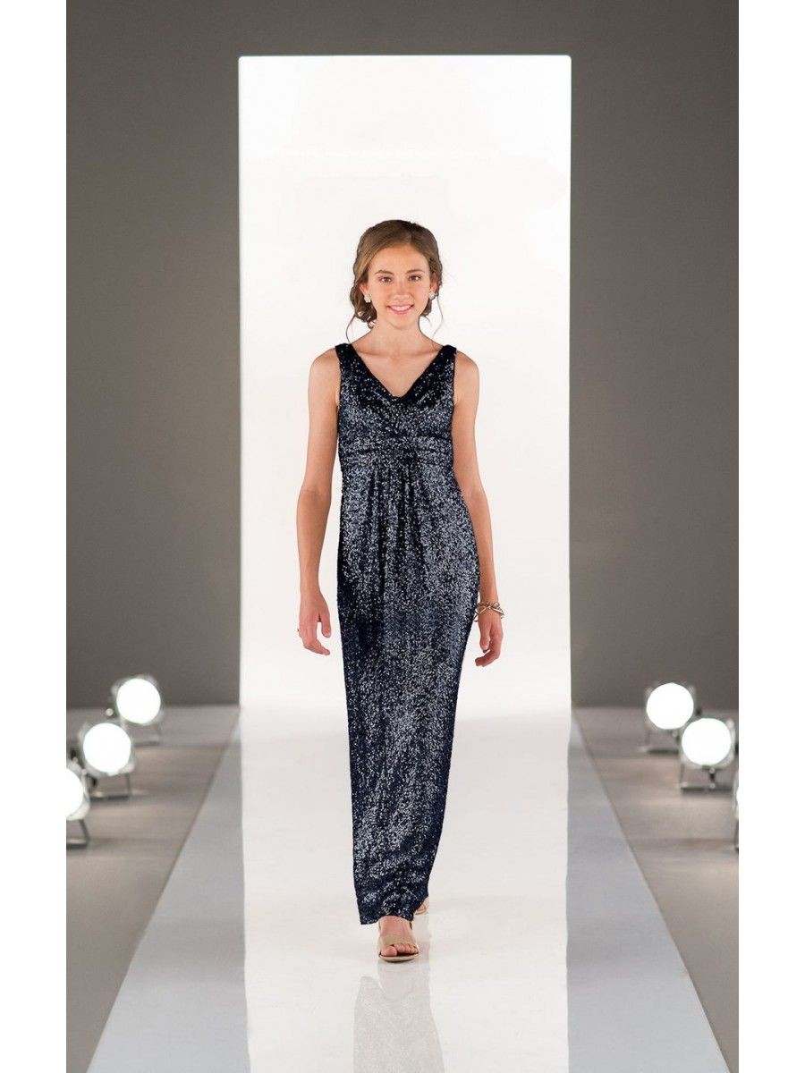 Black Sequins VNeck Long Junior Bridesmaid Dresses junior