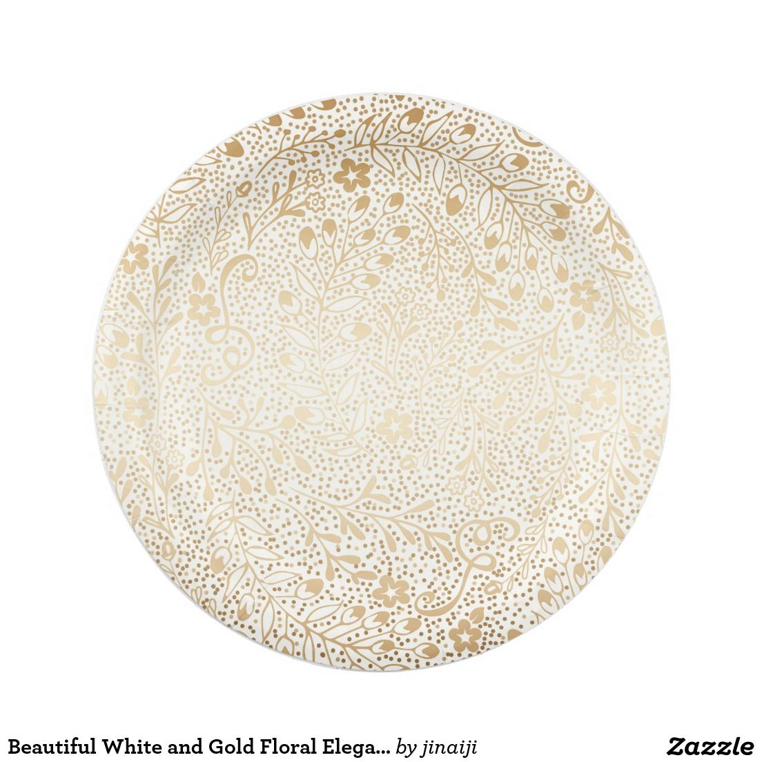 Beautiful White And Gold Fl Elegant Wedding Paper Plate Special Vintage Flowers Pattern