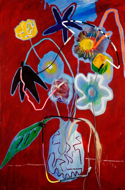 THRUSH HOLMES - FLORAL 9 - 72 X 48 INCHES - MIXED MEDIA ON PANEL