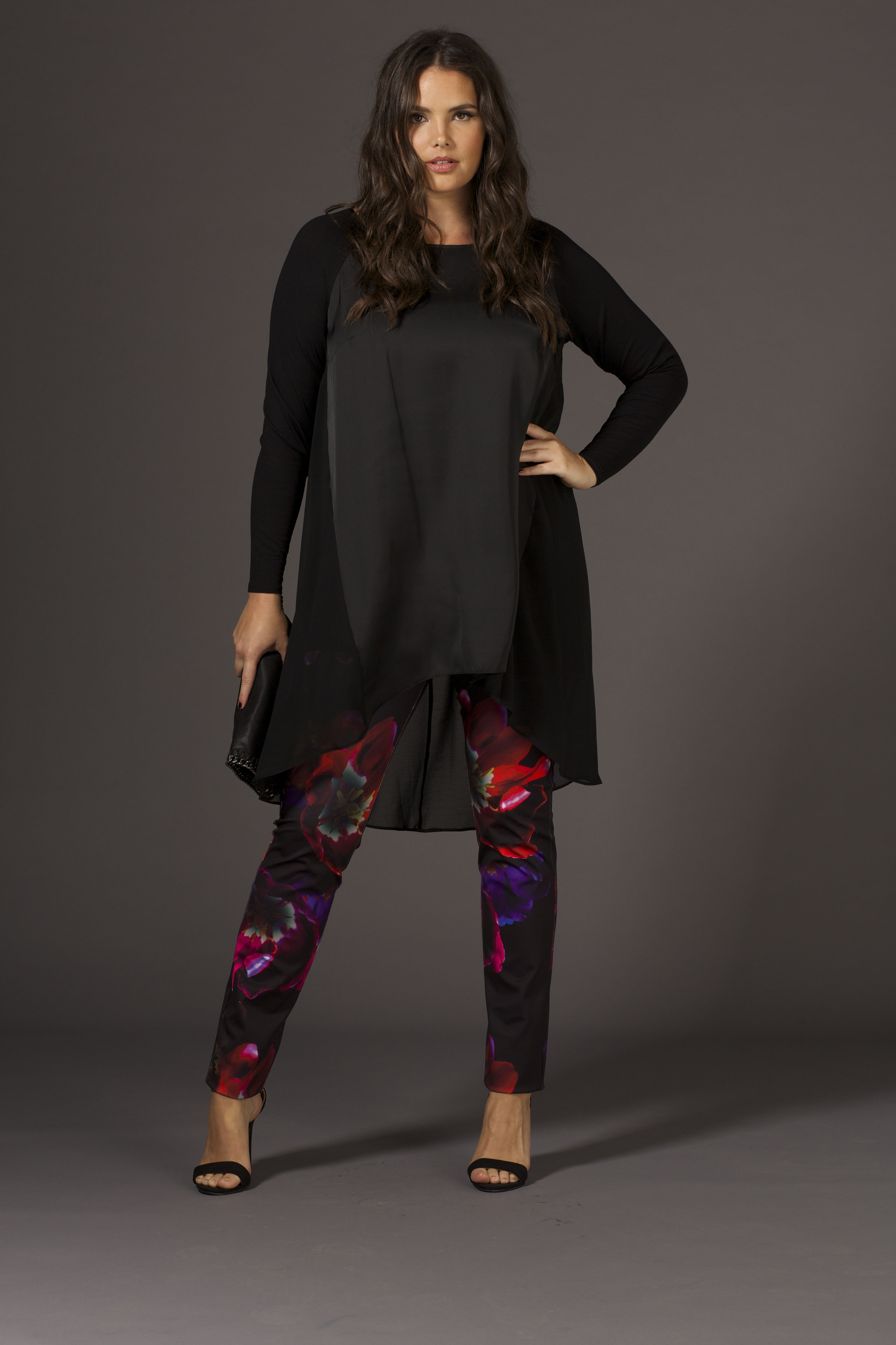 d0db1a6e188 Printed Floral Scuba Jersey Trousers with Satin Front Jersey Sleeve High Low  Hem Tunic - Plus Size Wallis - Live Unlimited AW14
