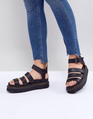Dr Martens Vegan Blaire chunky sandals in black | Shoe Fiend