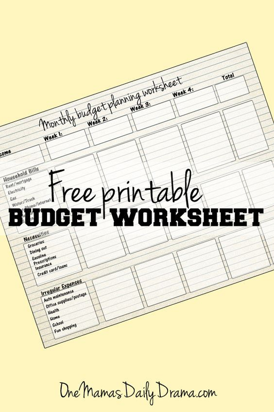 Free printable monthly budget worksheet Pinterest Printable