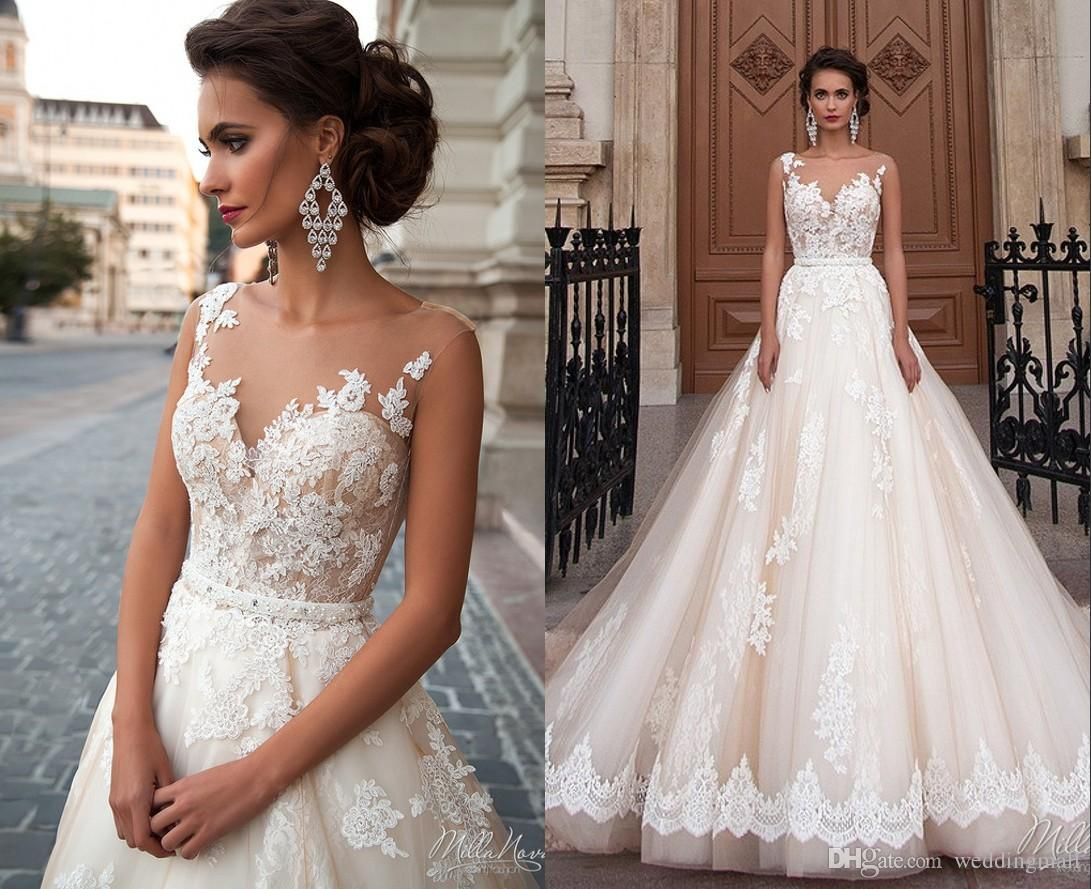Sheer Neck Lace Millanova 2016 Wedding Dresses Sash Ball Gown Tulle ...