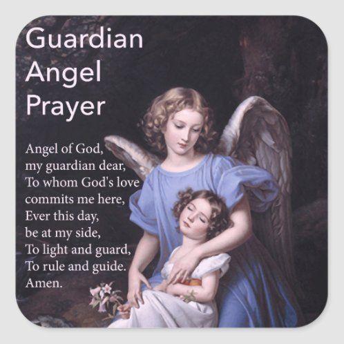 Guardian Angel Prayer with Boy Sticker   Zazzle.com