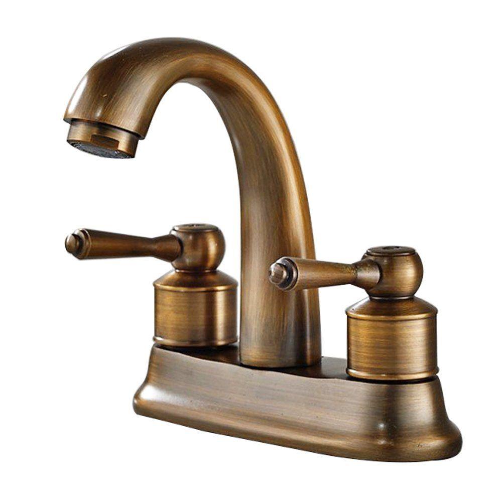 Votamuta Modern Retro Style 4 Inch Centerset Bathroom Basin Faucet Widespread Dual Hole Bathroom Faucets Faucets Bathroom Vintage Antique Brass Bathroom Faucet