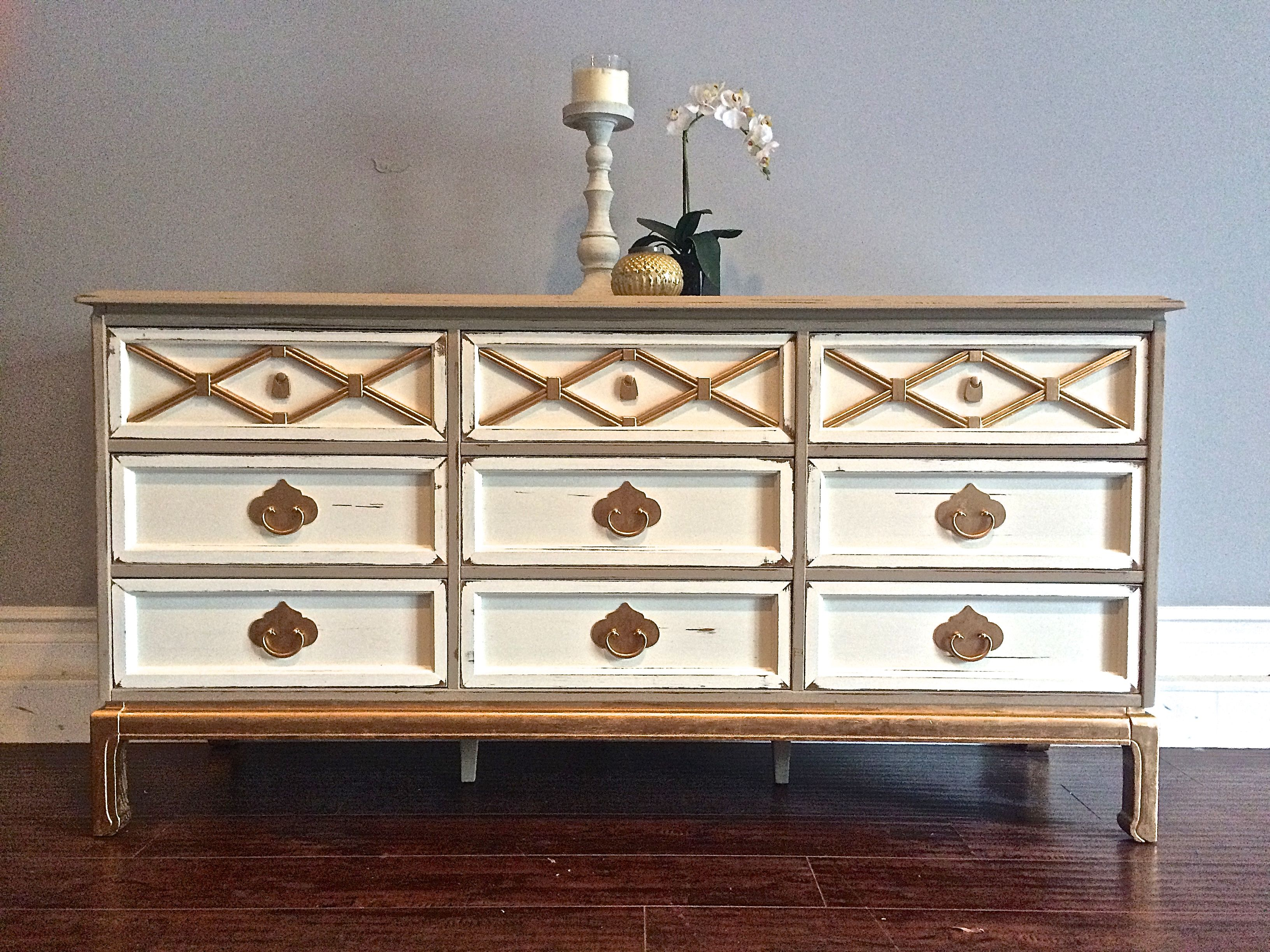 Painting furniture shabby chic - Shabby Chic Taupe Ivory Gold Leaf Dresser Custom Order For Michelle
