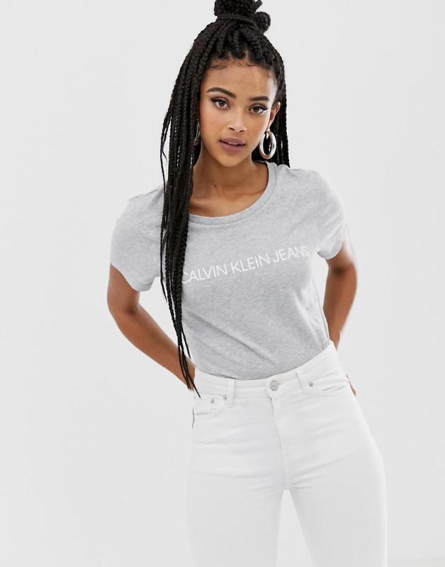 13v156 Calvin Klein Yco T Shirt Z Logo L 8374160767 Oficjalne Archiwum Allegro Calvin Klein Slim Fit Shirts Grey
