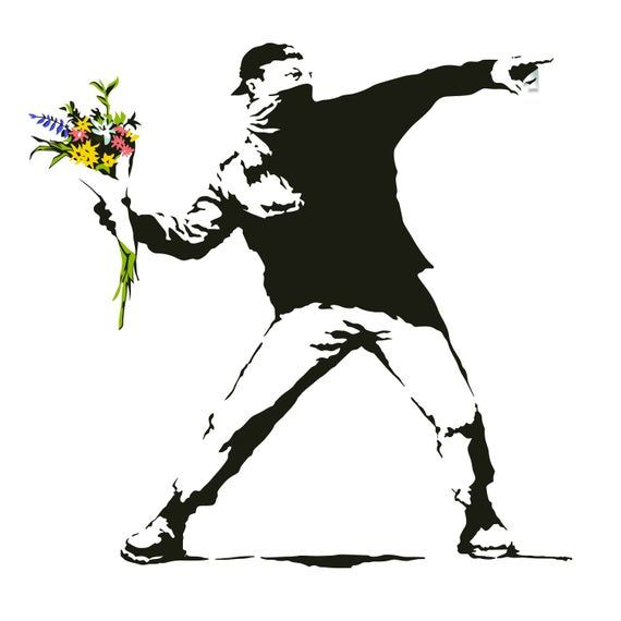 Banksy Flower Throw Wall Vinyl Sticker - Thrower Art Gift Decal - Banksy Flower Decal - Banksy Flower Decal - Banksy Sticker Thrower