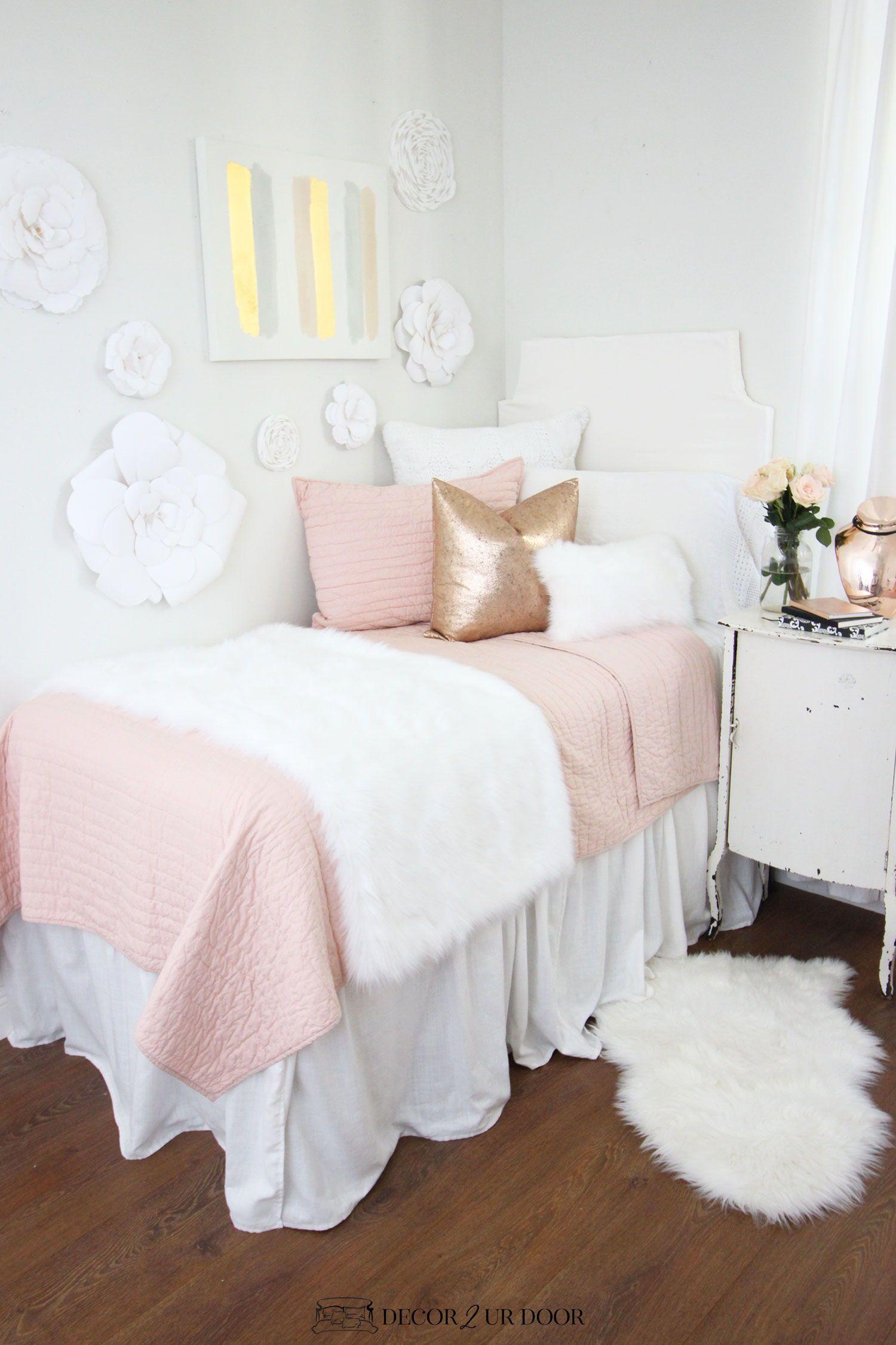 Blush Pink Dorm Room Ideas and Inspiration  Dorm room decor, Pink