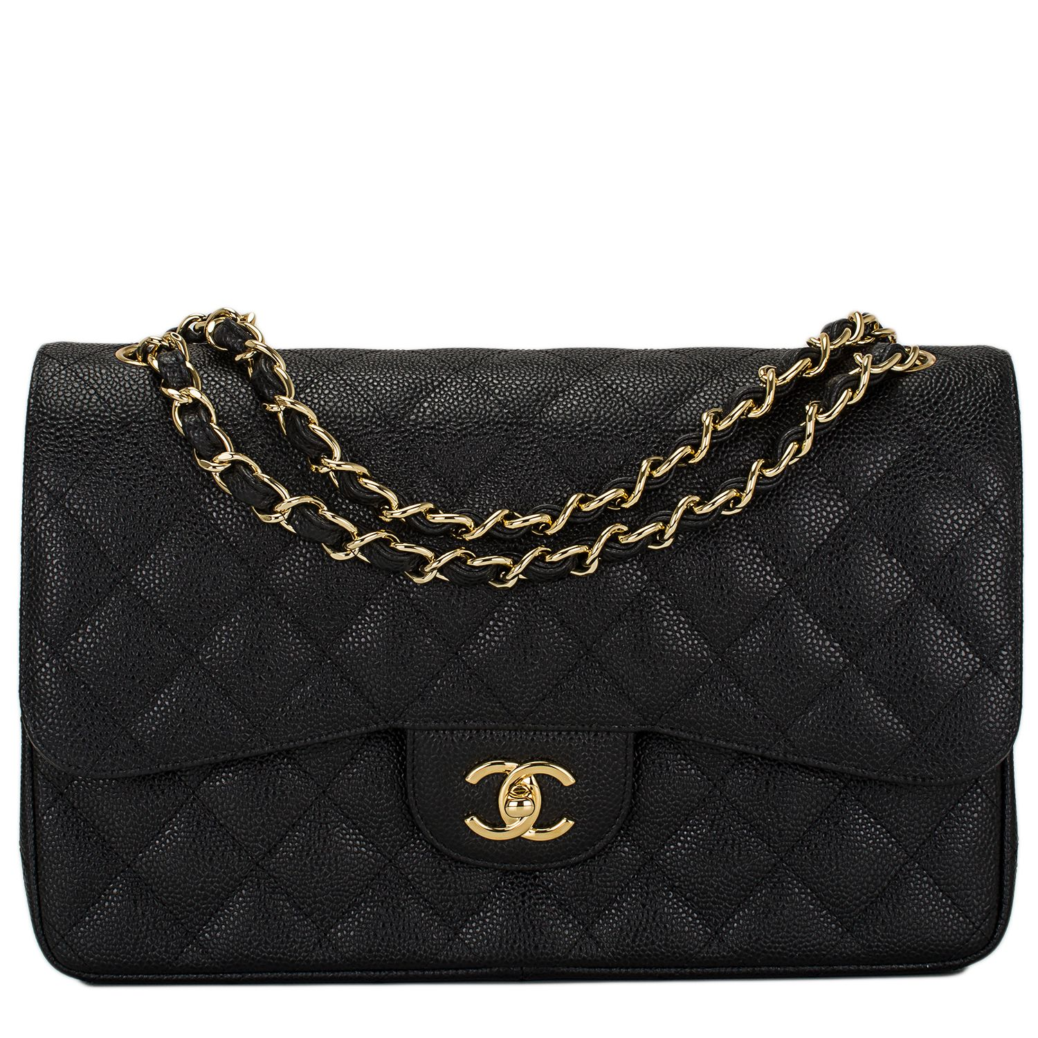 f64f4913c22a Chanel Black Quilted Caviar Jumbo Classic Double Flap Bag Gold Hardware # chanel