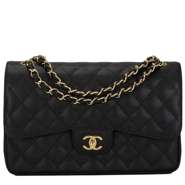 Chanel Black Quilted Caviar Jumbo Classic Double Flap Bag Gold ... : black quilted chanel handbag - Adamdwight.com