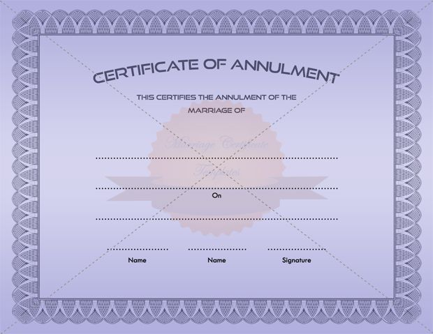 Printable Marriage Annulment Certificate Template
