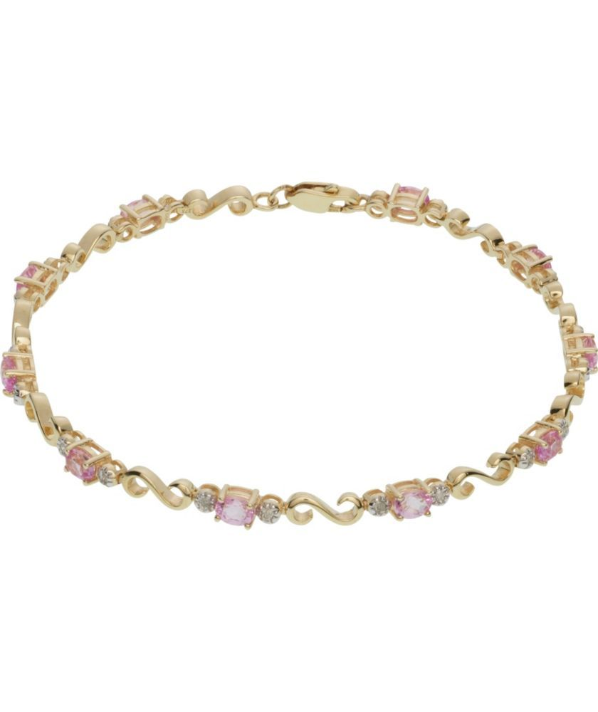 Buy 9ct Gold Pink Sapphire and 10 Point Diamond Bracelet ...