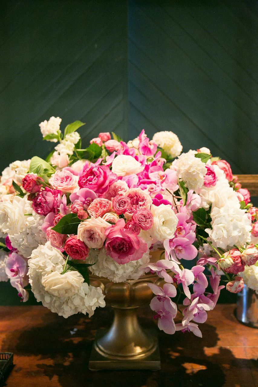 Lush pink and white centerpiece by Cherries Flowers | Erin & John\'s ...