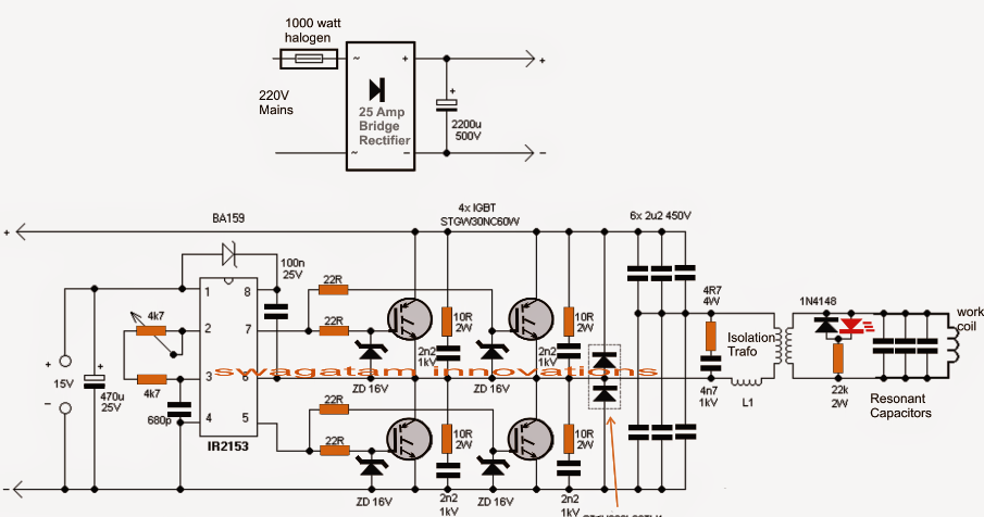 the post explains a simple full bridge induction heater circuit using igbts