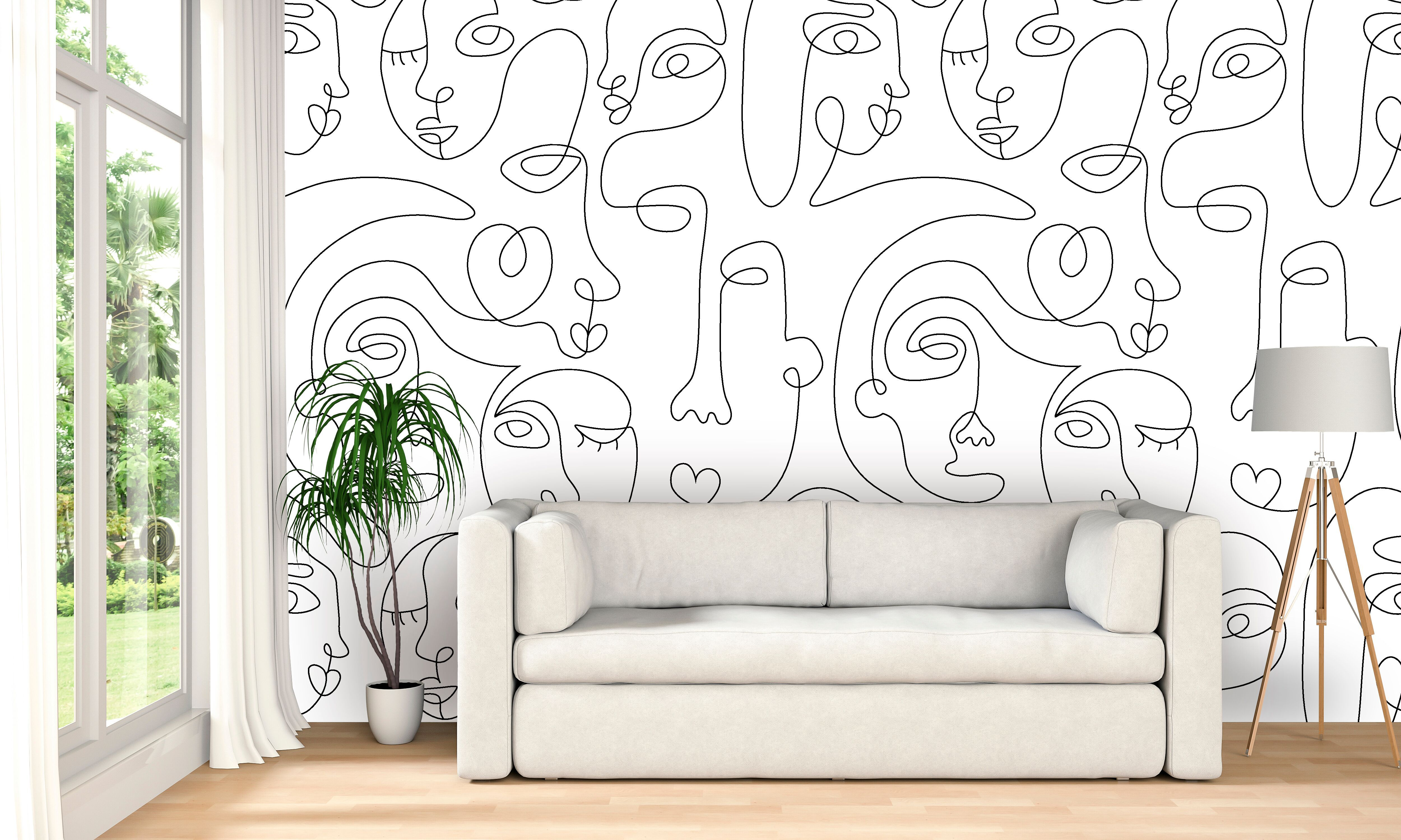 Picasso Style Wallpaper Peel And Stick Self Adhesive Wallpaper Murals Pattern Wallpaper Mural Wallpaper Shop Wallpaper Custom Wallpaper