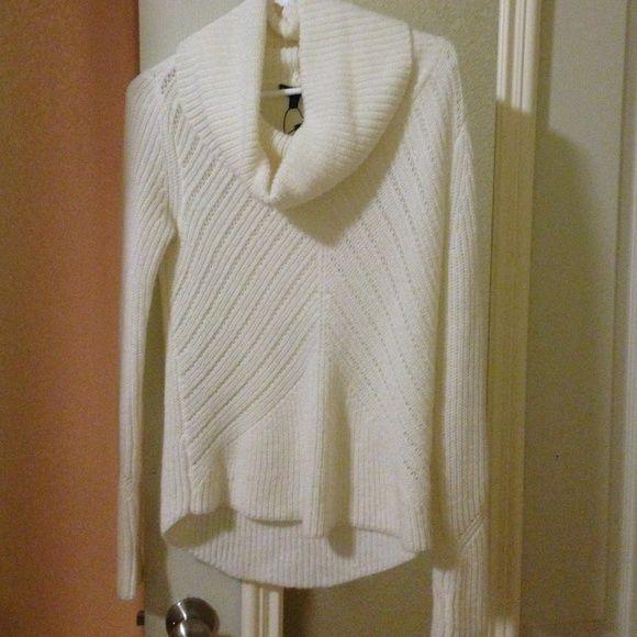 NWT Express white sweater Cute white cowl neck sweater, never worn. Express Sweaters Cowl & Turtlenecks
