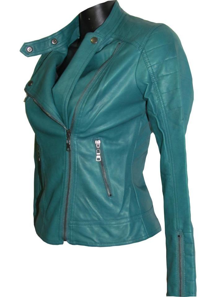 66e483e29ea chaqueta de piel en color azul verde, muy de moda! | pintas ...
