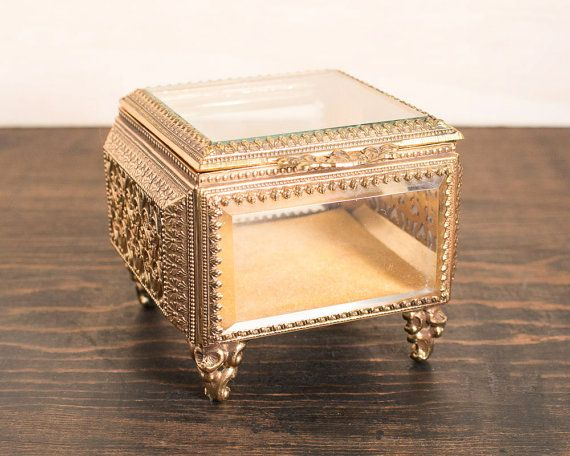 Vintage French Square Brass Beveled Glass Jewelry Trinket Box