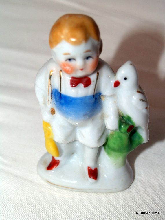 Vintage Occupied Japan  boy with parrot bird by ABetterTime, $8.50