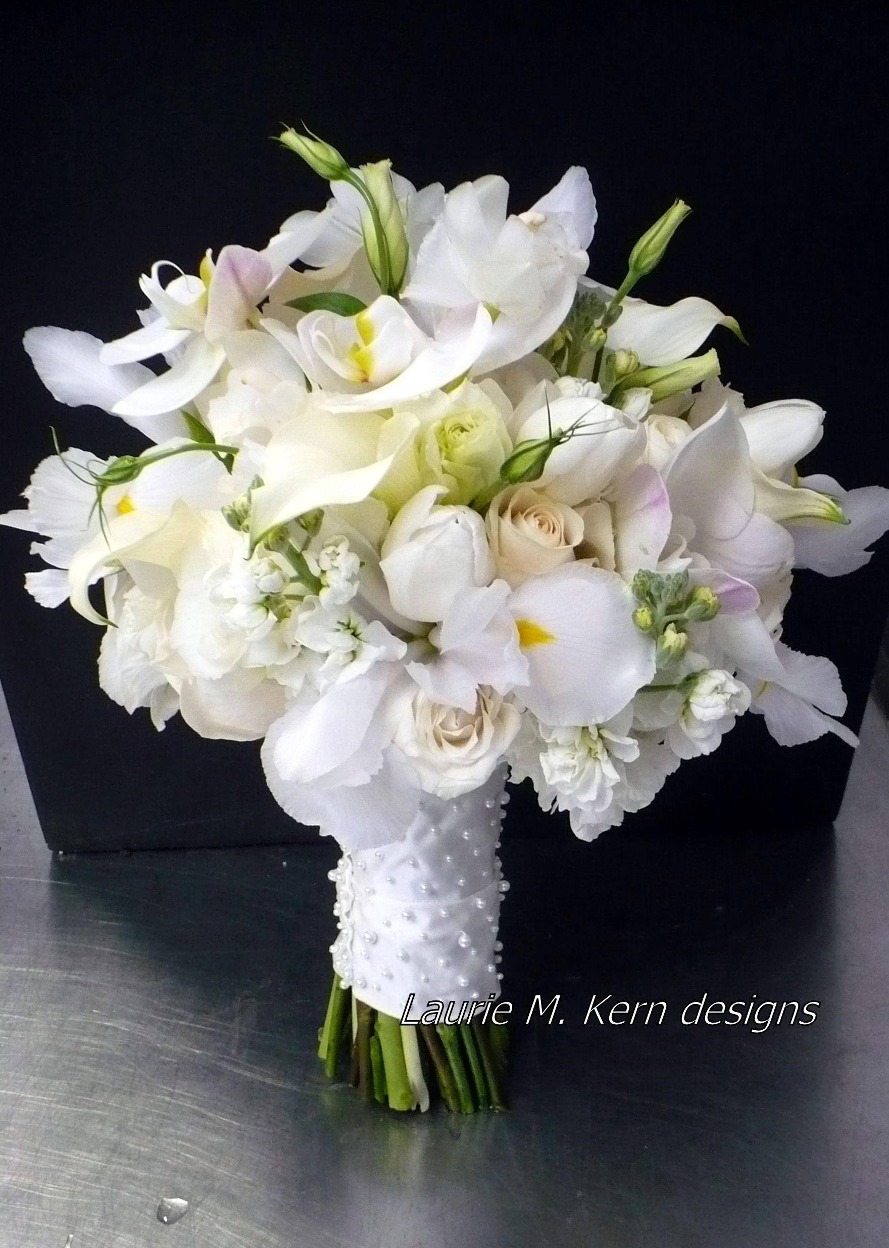 Lady In Pearls White Iris Adds So Much Frill Also Phalanophis Orchid Tulip Stock Lisianthus Vendela And Mini Callas
