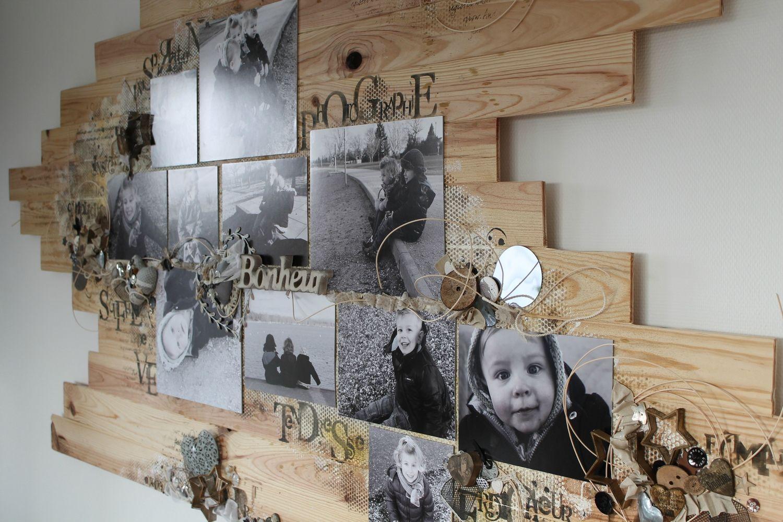 tableau photo sur planche de bois cadres photos pinterest scrap salons and decoration. Black Bedroom Furniture Sets. Home Design Ideas
