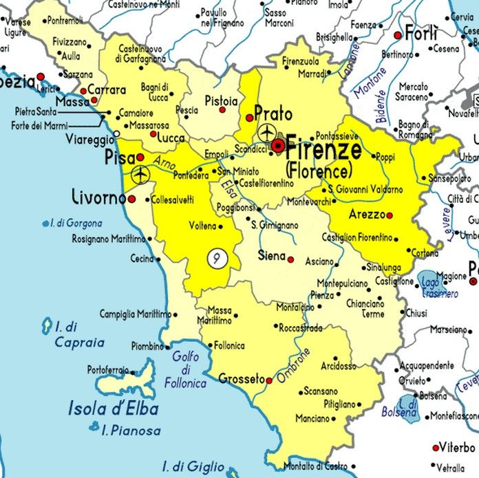Map of Tuscany with major Cities Places VIAGENS Pinterest