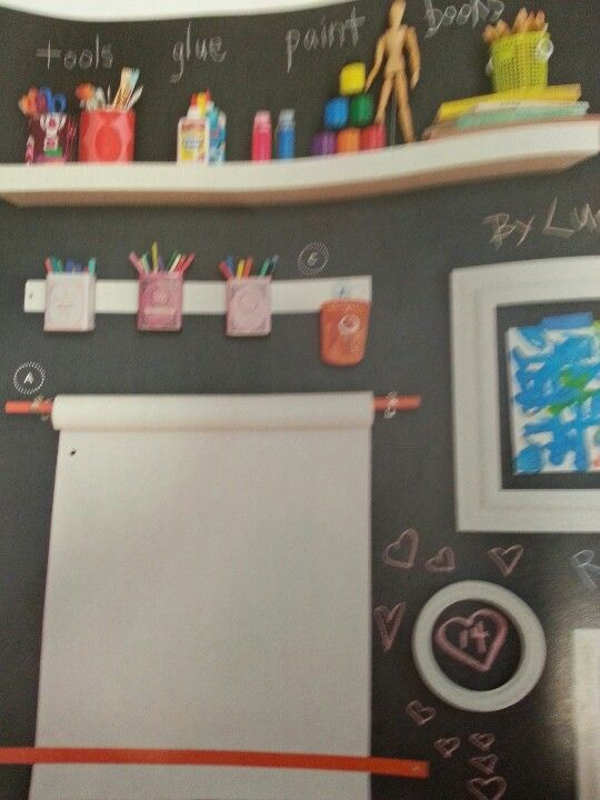Cool for a kids craft area - chalkboard paint