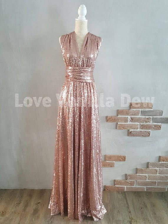 Bridesmaid Dress Infinity Dress Champagne Rose Sequin