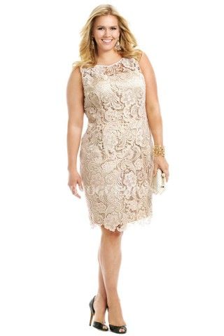 Sheathcolumn Jewel Knee Length Lace Plus Size Evening Dress